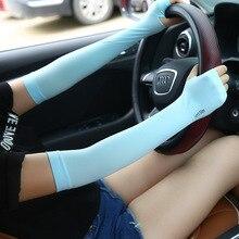 Vanzlife летние тонкие ледяные с холодным рукавом солнцезащитные перчатки женский УФ длинный ледяной Шелковый рукав мужские водительские перчатки
