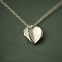 Daisies 925 Sterling Silver 3D Origami Heart Shape Pendants Necklaces For Women Valentines Day Gifts Sterling