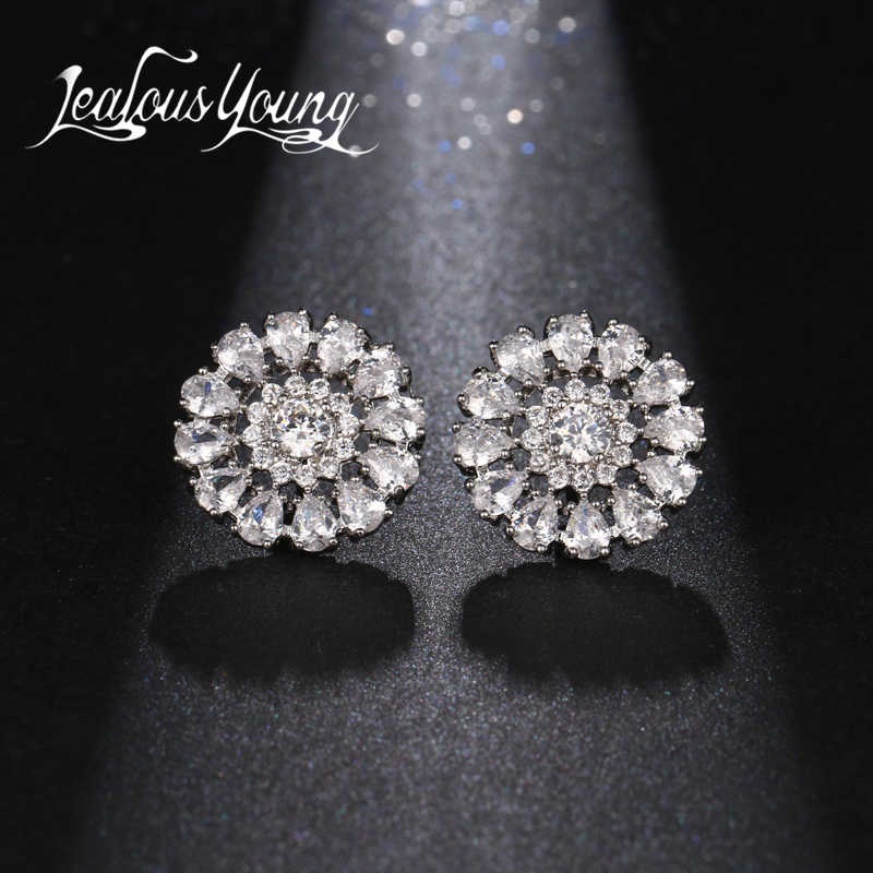 Vintage Hallow Flower Crystal Statement Earrings for Women inlay Water Drop CZ Rhinestone Studs Ear Jewelry Brincos AE393