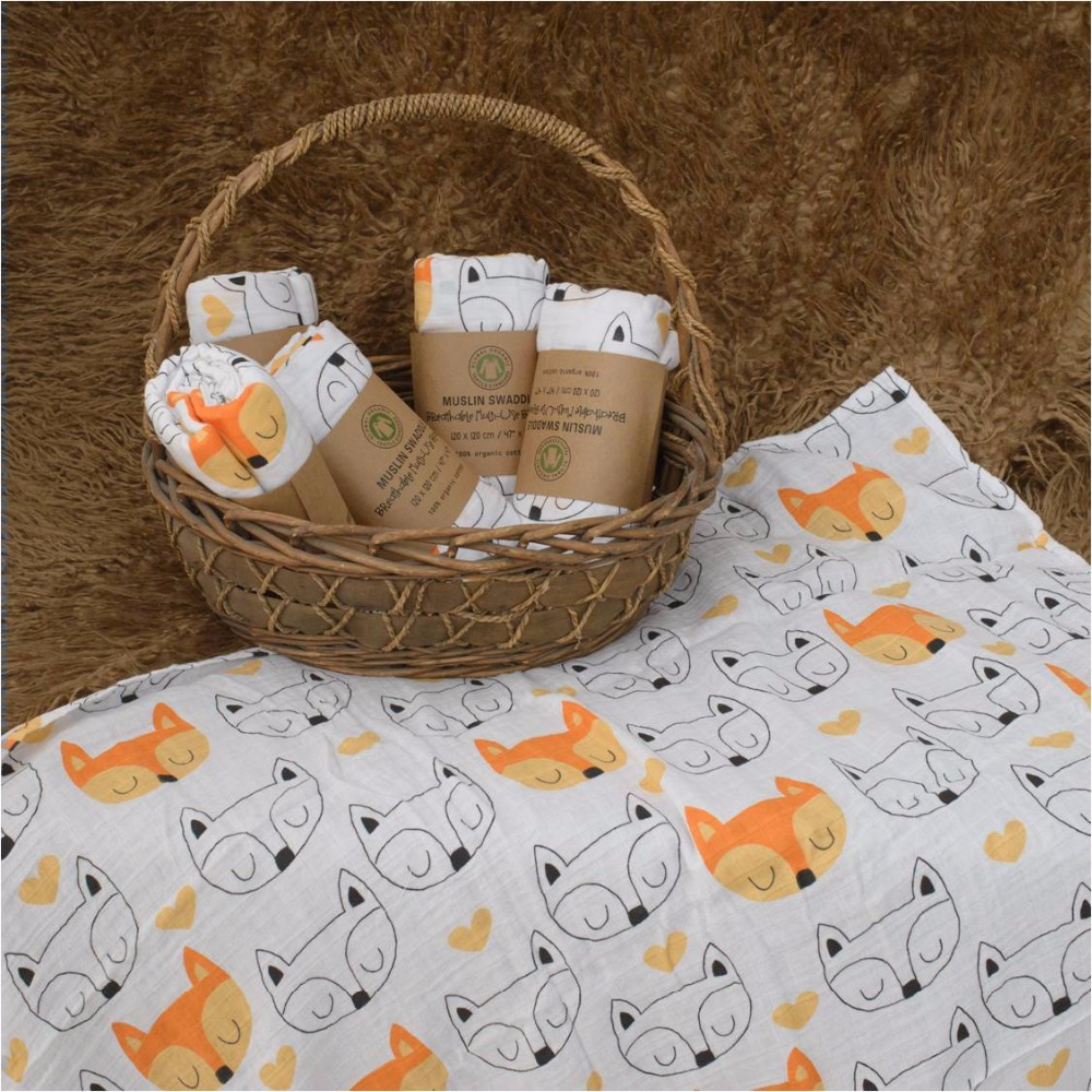 Muslinlife 100% Cotton Muslin Swaddle Blanket, Cross/Fox/Milk Bottle Models Multi-use blanket, Infant Newborn Baby Wrap 47*47