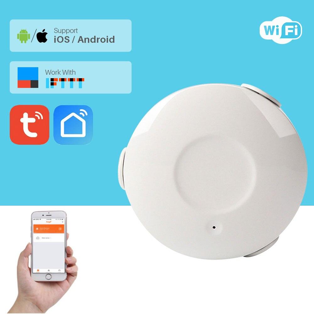 Smart WiFi Water Flood Alarm Sensor Water Leakage Alarm Smart Home Security App Notification Via Smartphone Compatible IFTTT