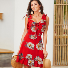 WPCZQVZA 2019 Charming Sexy V-Neck Halter Dresses For Women Fashion Chic Printing Summer Dress Beach Vacation Ruffled Hem
