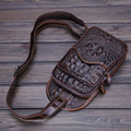 2017 New Vintage Men Genuine Leather Crocodile Grain Travel Shoulder Cross Body Messenger Sling Pack Chest Bag