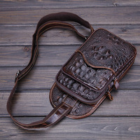 2015 New Vintage Men Genuine Leather Crocodile Travel Hiking Shoulder Cross Body Messenger Sling Pack Chest