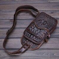 2015 New Vintage Men Genuine Leather Crocodile Travel Hiking Shoulder Cross Body Messenger Sling Pack Chest