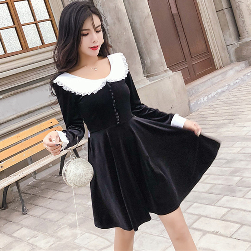 Long Sleeve Fall Winter Dresses Women Vintage Palace Style Lolita Contrast Color White Peter pan Collar Mini Black Velvet Dress Платье