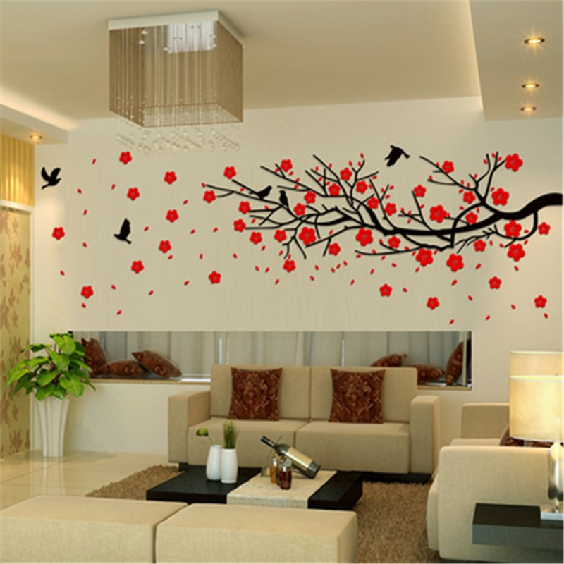 2017 3D three-dimensional wall stickers TV wall sofa backdrop Chinese plum tree Crystal Acrylic Home decor 3D Sticker Decals art