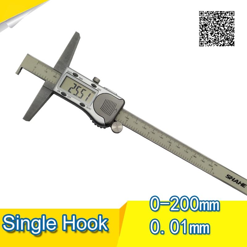 Free shipping 0.01mm 200mm digital slide-micron stainless steel Single hook Digital depth stop gauge dee