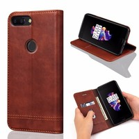 Luxury Plain Black Brown Flip PU Mobile Phone Case For Oneplus 5T Back Cover Case Capa