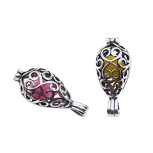 купить 10pcsantique silver  water drop Pearl Cage Jewelry Making Bead Cage Pendant Aroma Essential Oil Diffuser Locket For Oyster Pearl по цене 420.1 рублей