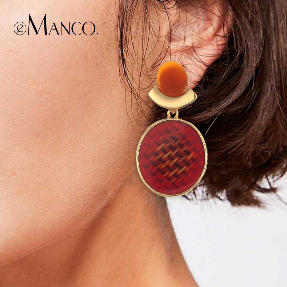 E Manco модные серьги капли для женщин круглые очаровательные висячие серьги Новое поступление дружба модные украшения красный цвет купить на AliExpress