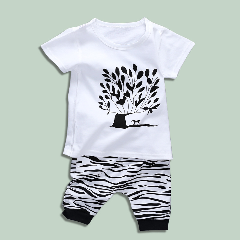 FHADST 2017 Summer Baby Boys Clothing Set Geometric Shorts Children Kids Clothes Cotton Sets Pullover Black And White Worsted