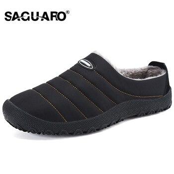 SAGUARO/зимняя мужская обувь, плюшевые мужские тапочки, флисовые теплые домашние тапочки с хлопковой подкладкой, домашняя обувь на плоской под...