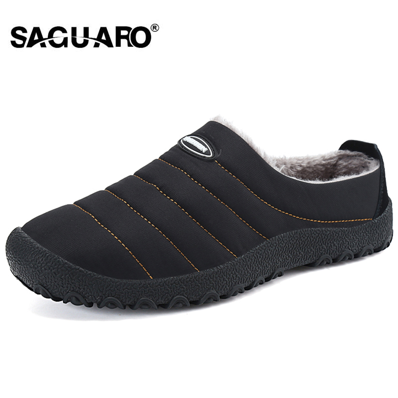 SAGUARO Winter Men Shoes Plush Men Slippers Fleece Warm Fur Thicken - Men's Shoes
