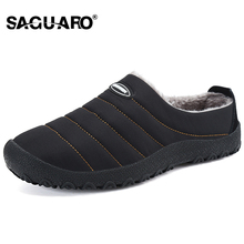 SAGUARO Pantofi de iarna pentru barbati Pantofi de plus pentru barbati Fleece de bumbac cald Pulover de bumbac-padded Home Pantofi de interior Slipper Flat Size Big Size 36-46