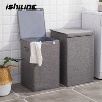 Fashion Cotton And Linen Collapsible Hamper Large Storage Waterproof Laundry Bucket Home Bathroom Needs Storage Basket