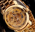Mujeres Favorita Extravagante Oro Esqueleto Mecánico Automático Auto-wind Watch Reloj de pulsera de Acero Completo Impermeable NW518