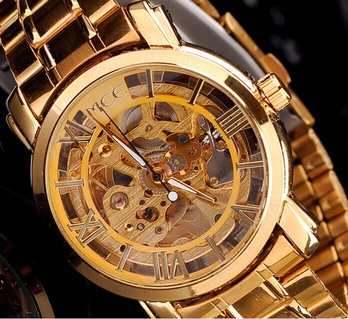 Women Favorite Extravagant Gold Plated Full Steel Wristwatch Skeleton Automatic Mechanical Self-wind Watch Waterproof NW518
