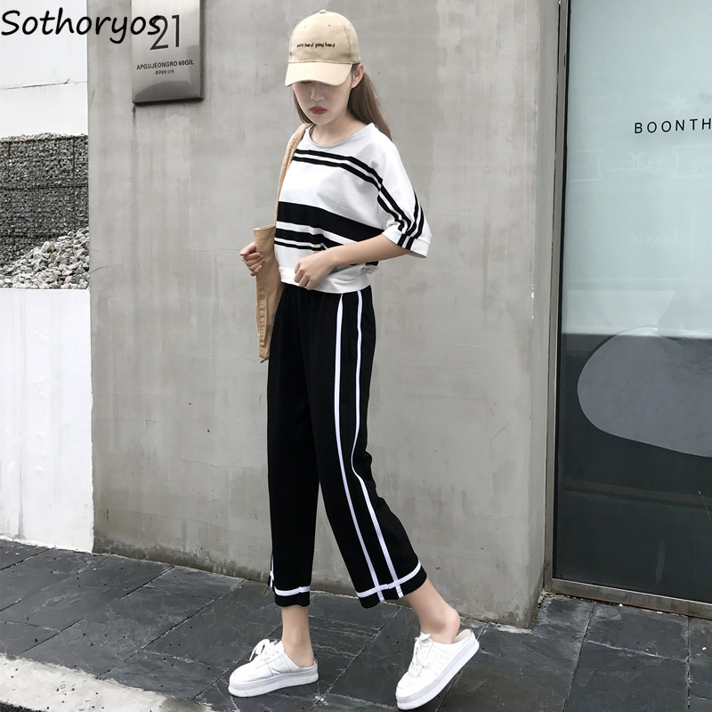 Pants   Women Striped Loose High Waist Simple All-match Korean   Wide     Leg     Pant   Womens Trendy Ulzzang Leisure Trousers Students Chic