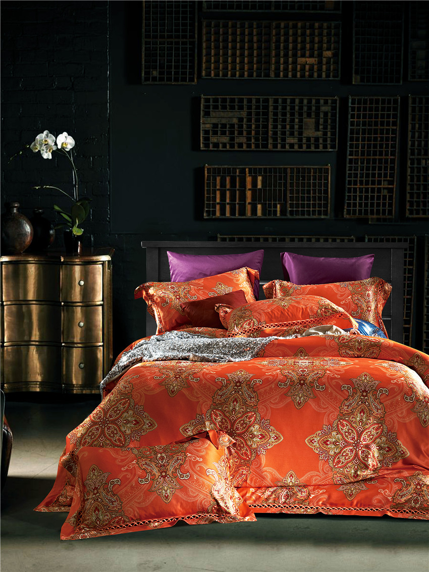 duvet quilt text pillow orange bedding products set retro cover case with