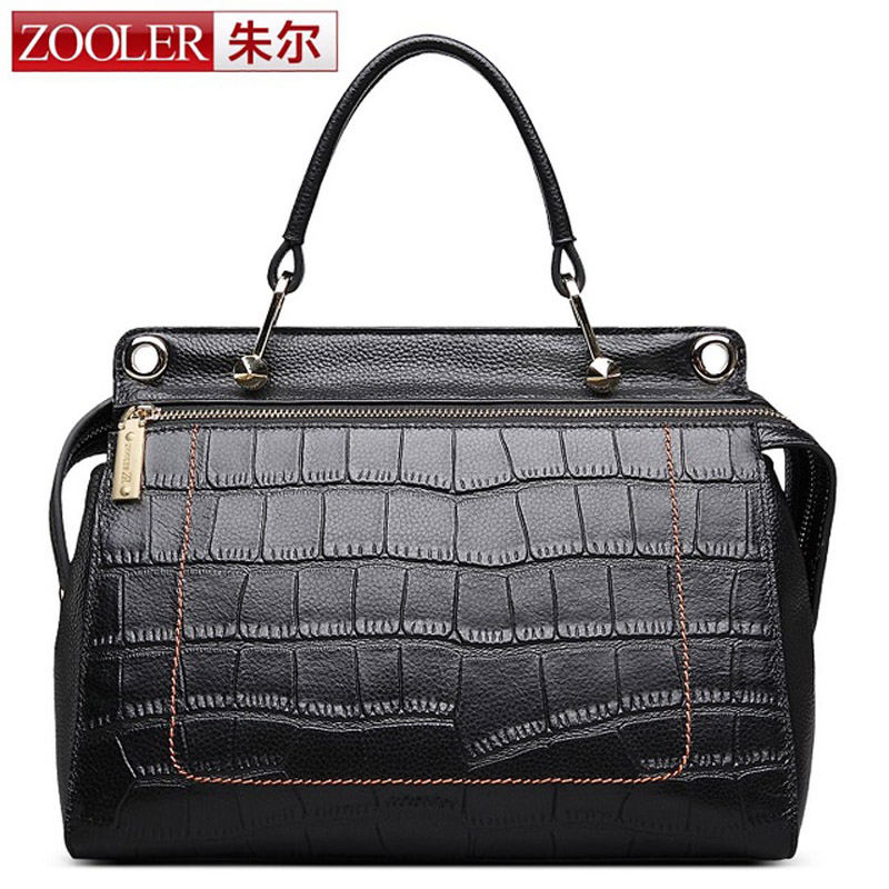 ZOOLER Genuine Leather Women Bags Handbags Popular Brand High Quality Boston Tote Vintage Fashion Luxury Crocodile Shoulder Bag zooler genuine leather genuine real cowhide small handbags high quality brand women plaid shoulder bags chain tote crossbody bag