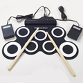 Professional 7 Pad Digital Portable Collapsible Silicone Musical Electronic Drum Set with Stick Roll-up