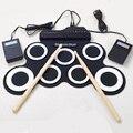 Profissional 7 Pad Digital Portátil Silicone Dobrável Musical Drum Set Eletrônico com Vara do Roll-up