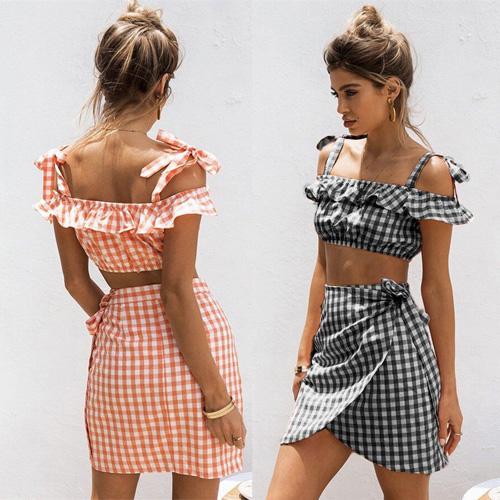 5e6e60c8aa9c Women 2 Piece Bodycon Two Piece Crop Top Vest &Skirt Set Bandage Dress  Party set