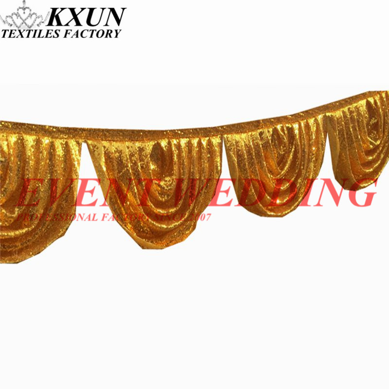 Gold Silver Sequin Drape Swag Valance For Wedding Backdrop Stage Backdrop Decoration