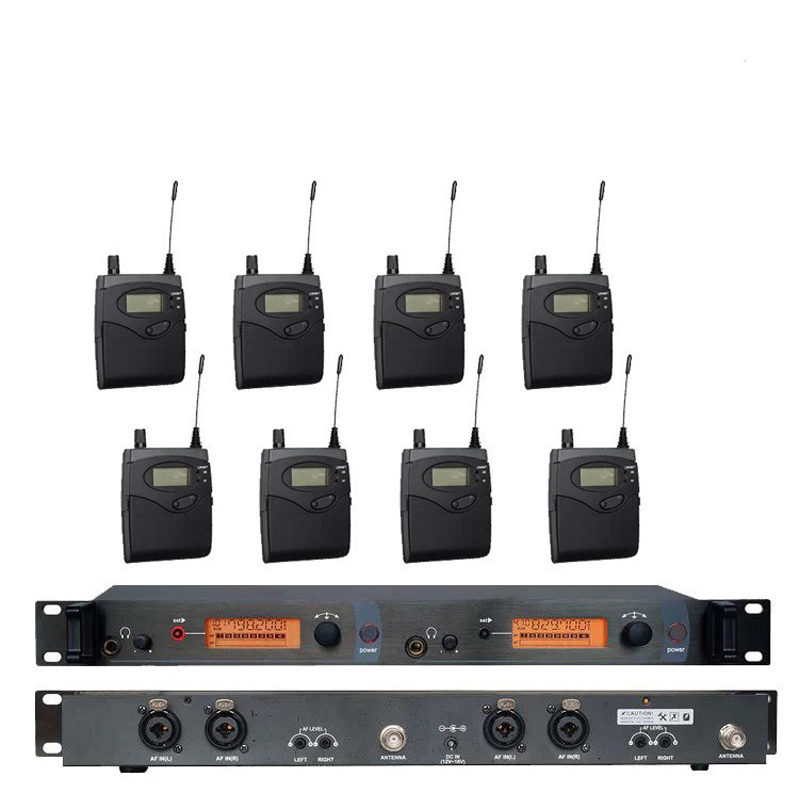 8 Pack Receivers + Wireless In Ear Monitor System Twin Transmitter, Professional for 8 Musician in Church ukingmei uk 2050 wireless in ear monitor system sr 2050 iem personal in ear stage monitoring 2 transmitter 2 receivers