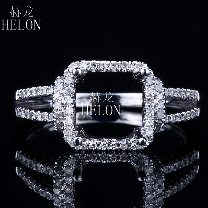 HELON Solid 14K (AU585) White Gold Pave Natural Diamond Semi Mount 7x7mm Cushion Cut Engagement Wedding Ring Women Fine Jewelry цена