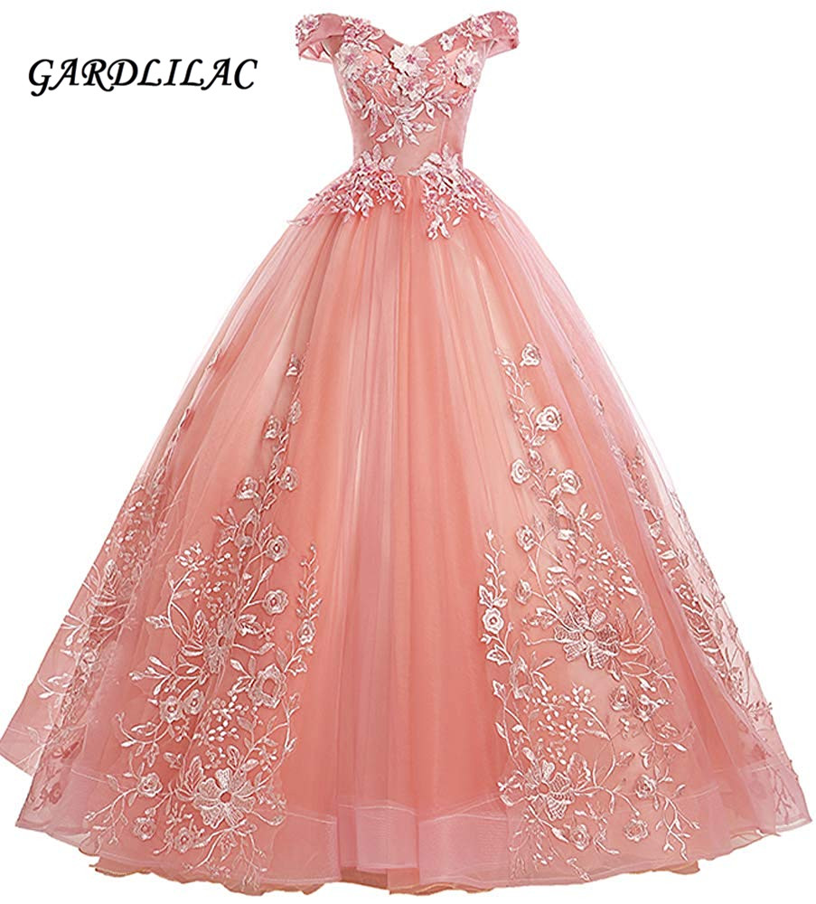 New Off The Shoulder Dress Sweet 16 Quinceanera Dresses Ball Gown Long Prom Dress Lace Appliques  G0126(China)