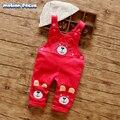 Nueva Primavera Otoño Niños Outwear Bebé En General Oso de Dibujos Animados Mono Niño Ropa Pantalones Del Babero Del Mono