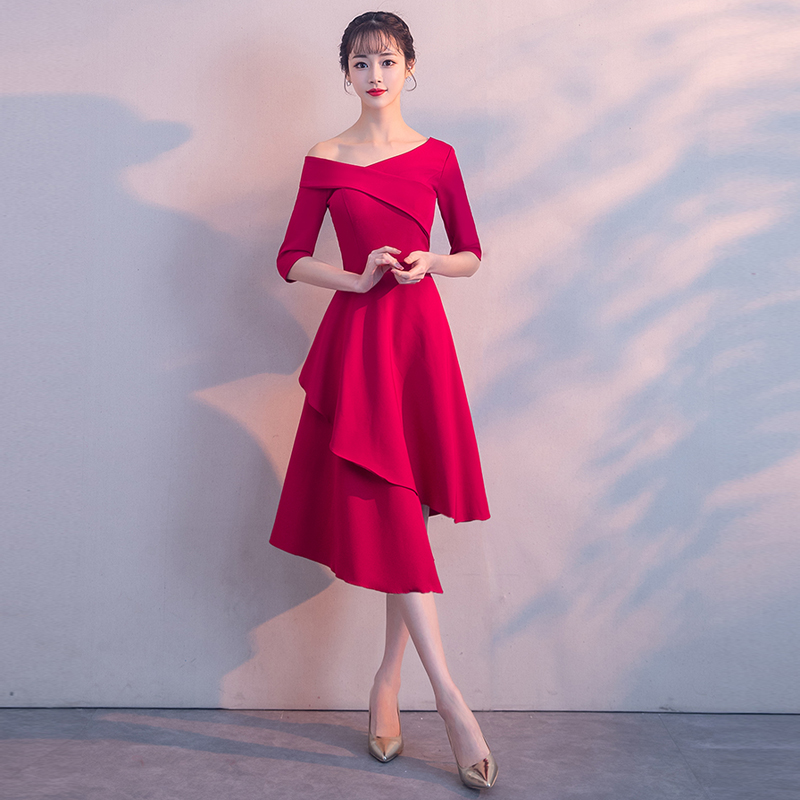 2018 new fashion wine red color Boat Neck Half Sleeves Zipper plus sizes Robe De Roiree party short   evening     dress