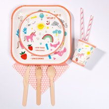 RiscaWin Unicorn Party Wedding Birthday Party Set Supplies for 10 Packs Paper Plates Cups Dringking Straws Napkins Disposable