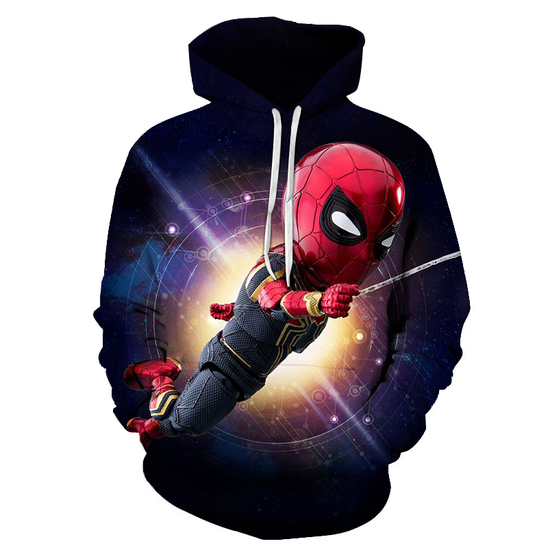Iron Spiderman 3D Hoodie Men 2019 New Design Mens Hoodies Funny Hip Hop Sweatshirts Fashion Men Women Anime Streetwear Clothes