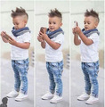 Summer Spring Autumn Baby Boy Clothes 3Pcs Set Kid Children Short Sleeve Shirt + Jeans + Scarf Outfits Clothing Set Suit 2-8T