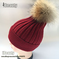 2016 Winter fur pompoms hat Beanie gorro women cashmere wool cotton hat 100% Raccoon Fur pom pom cap winter hats for women