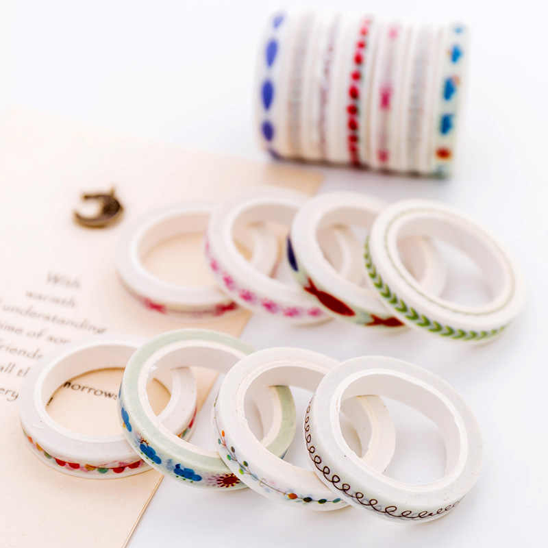 Papelería japonesa y coreana creativa pequeña, fresco y bien y cinta de papel diarios DIY decoración lágrima no-mark sticke