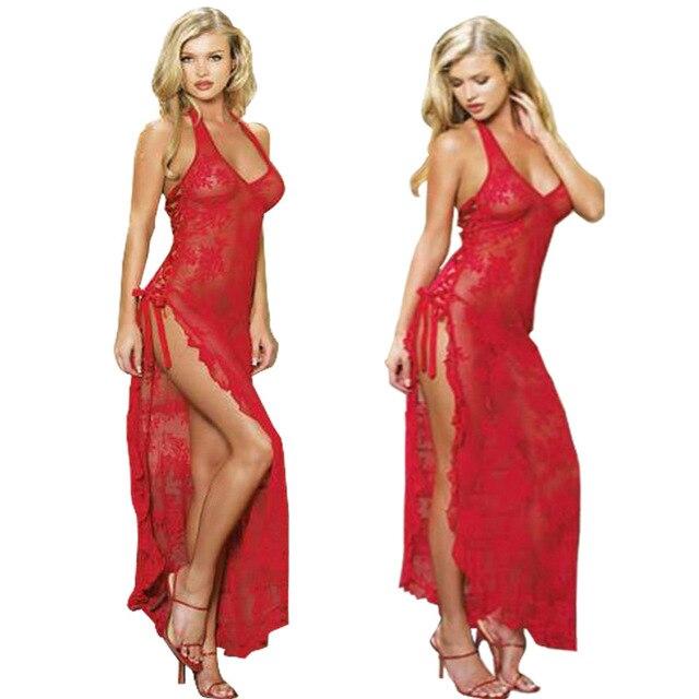 3786d888bbde € 11.52 20% de DESCUENTO|Talla grande S 6XL mujer vestido largo rojo ropa  de noche Sexy vestido de noche Lencería encaje exótico ropa interior ...