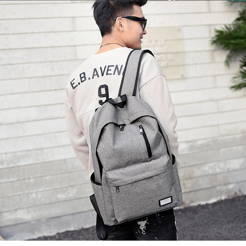 Teen Canvas Backpack Schoolbag for Boys Teenagers Men satchel schoolbag Black USB High school bags backpack Male Preppy Style preppy style drawstring and canvas design satchel for women