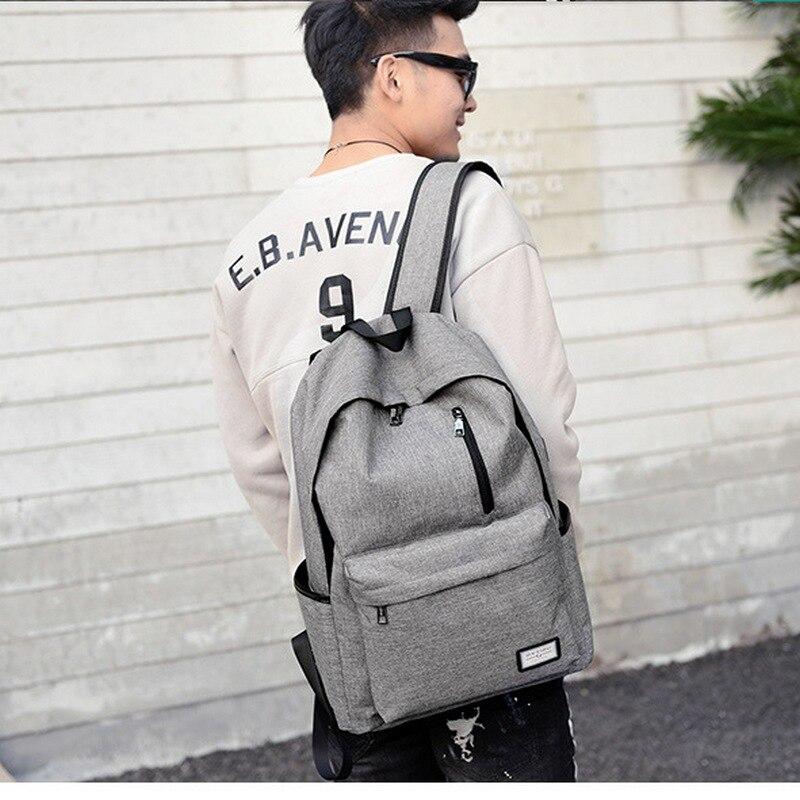Teen Canvas Backpack Schoolbag For Boys Teenagers Men Satchel Schoolbag Black USB High School Bags Backpack Male Preppy Style