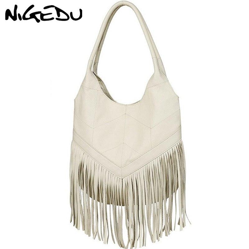 NIGEDU 100% Genuine Leather Women Shoulder Bag Tassel Design Women's Handbags Large capacity brand luxury soft Women's Totes цена и фото