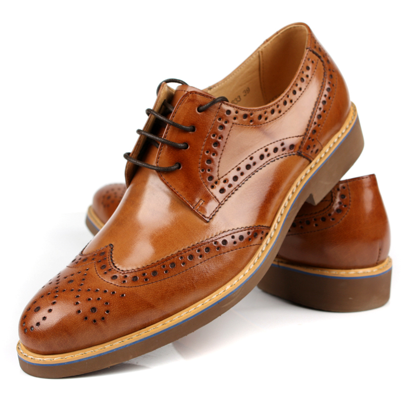 062ae152f7eb4a Fashion Brown Tan   Black   Brown Dress Shoes Mens Business Shoes Genuine  Leather Wedding Shoes Male Oxfords Social Shoes-in Formal Shoes from Shoes  on ...