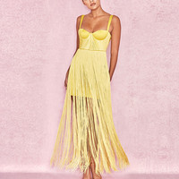 2018 Sexy Women Tassel Bodycon Party Dress Summer Yellow Bustier Spaghetti Strap Maxi Dresses