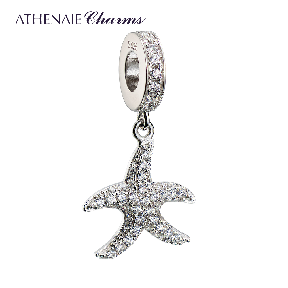 ATHENAIE 925 Silver with Pave Clear CZ Sparkling Lucky Starfish Pendant Drops Charms Fit All European Bracelets For Women