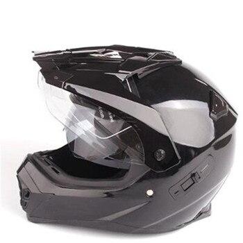 double lens Motorcycle Street Bike Dual Visor/Sun Visor Full Face Helmet Gloss Black, Size Large (57-58 CM,22.4/22.8 Inch)