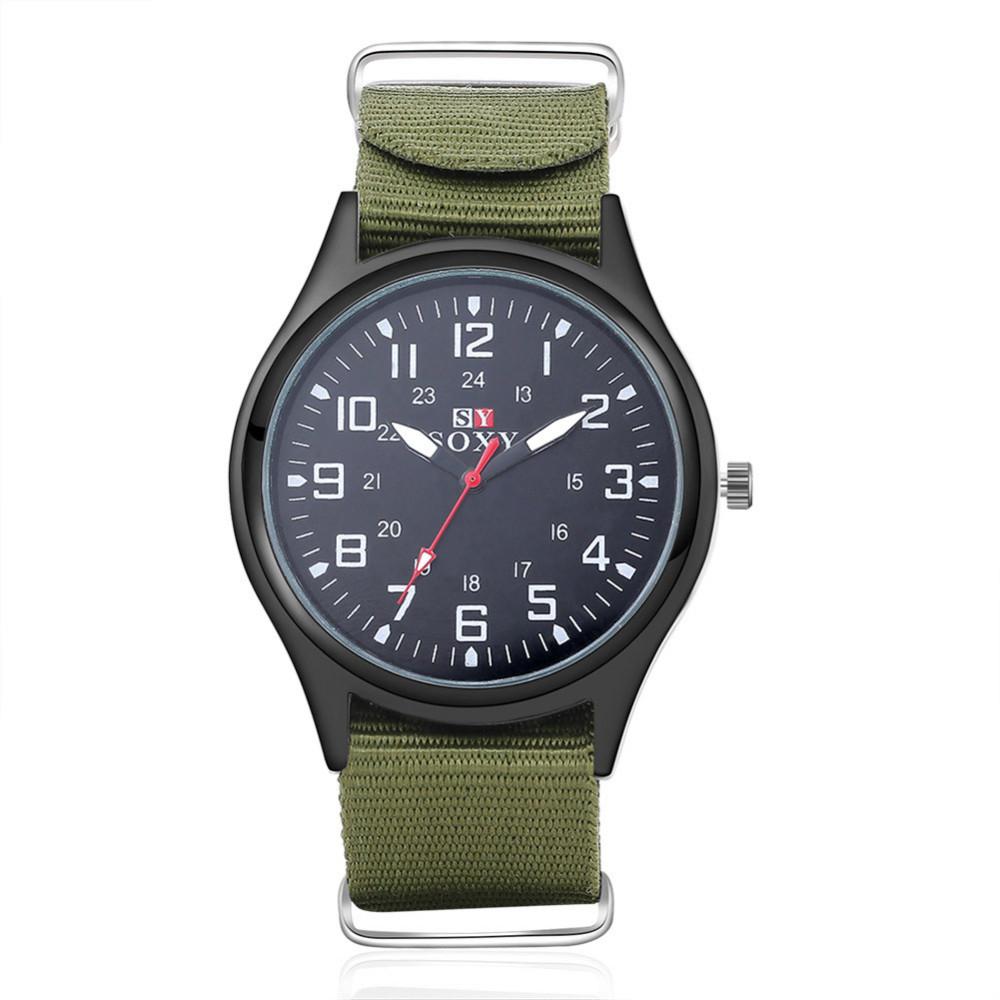 แฟชั่นไนล่อนนาฬิกาผู้ชายยี่ห้อใหม่SOXYกีฬาของผู้ชายควอตซ์ข้อมือทหารบางนาฬิกาอนาล็อกผู้ชา... 5