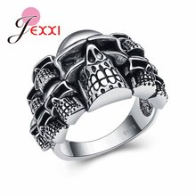 Nice Quality Cosplay Jewelry Ring for Women Men Black Retro Skull Design Best Hallowmas Gifts 925 Sterling Silver Color Jewelry(China)