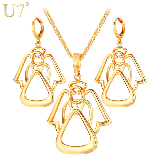 U7 Crystal Angle Jewelry Sets Wedding Accessories Gold Color Zirconia Fairy Necklace Earrings Set For Women S639